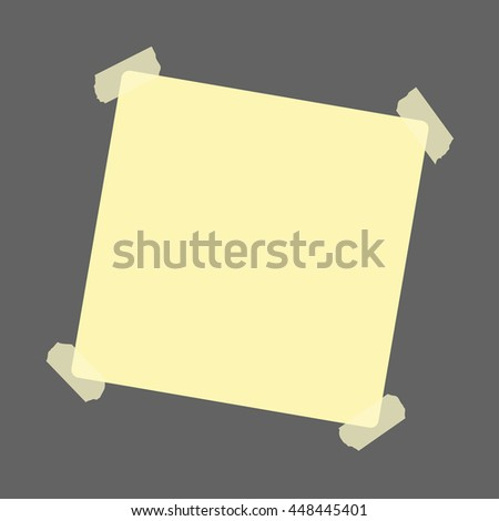 Yellow sticker with adhesive tape on grey background. Notice, reminder. Vector illustration - stock vector