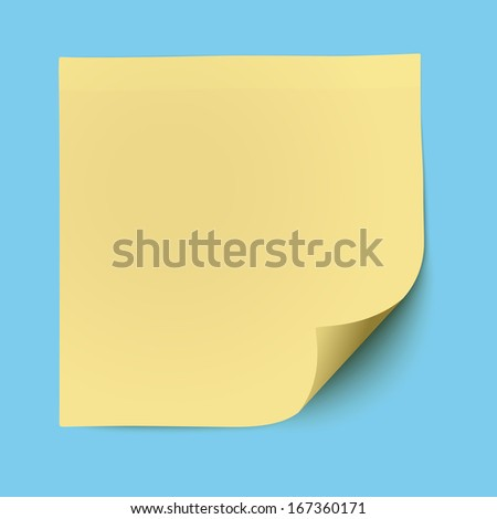 Yellow sticky note isolated - stock vector