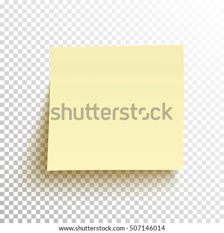 Yellow Sticky Note Isolated On Transparent Stock Vector 507146014