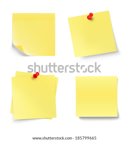 Yellow sticky note isolated on white background. Vector illustration. Realistic - stock vector