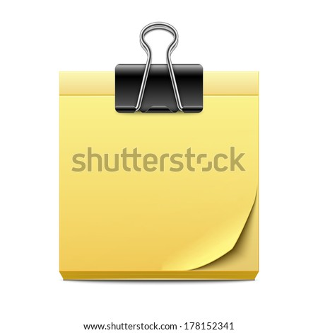 Yellow sticky note paper with binder clip isolated on white background - stock vector