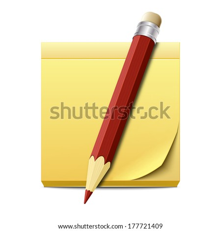 Yellow sticky note paper with pencil isolated on white background - stock vector