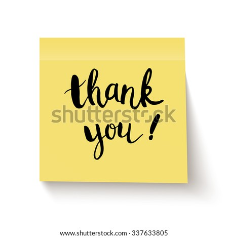 Yellow sticky note with handwritten phrase Thank you on white background. Vector illustration