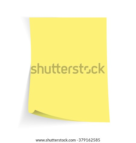 Yellow sticky note with transparent shade. - stock vector