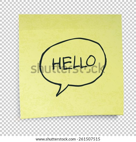 Yellow sticky notes with Hello Message. Isolated on transparent background - stock vector