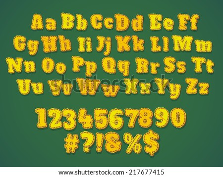 Yellow stitches patchwork alphabet with digits and symbols. Cartoon kid style - stock vector