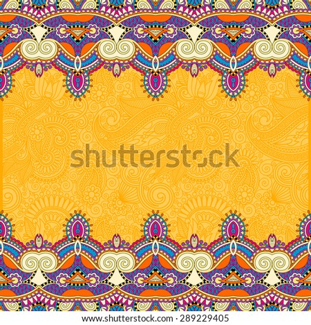 yellow stripe ornament on floral background, perfect for invitation, book cover, packing design, greeting card and other, vector illustration - stock vector
