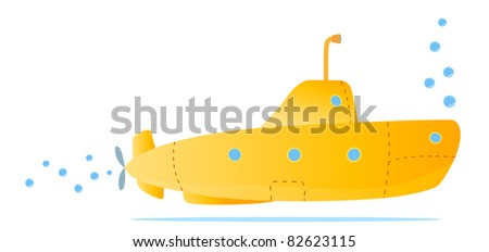 yellow submarine for kids fun - stock vector