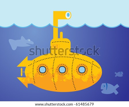 Yellow Submarine in to the sea, vector illustration
