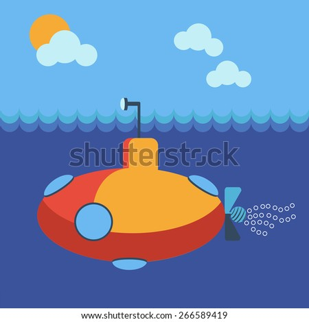 Yellow submarine underwater side view. Kids book picture. Digital background vector illustration.  - stock vector
