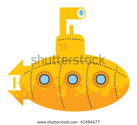 Yellow submarine, vector illustration - stock vector
