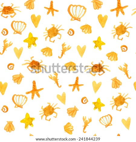 Yellow summer background with beach crabs, hearts and star fish. Sunny seamless vector texture. - stock vector