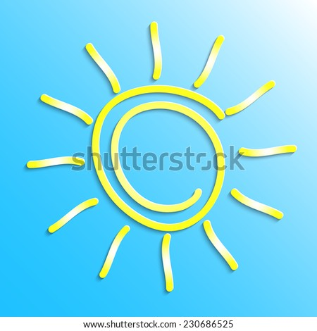 Yellow sun on a blue background, 3D paper, vector, eps10