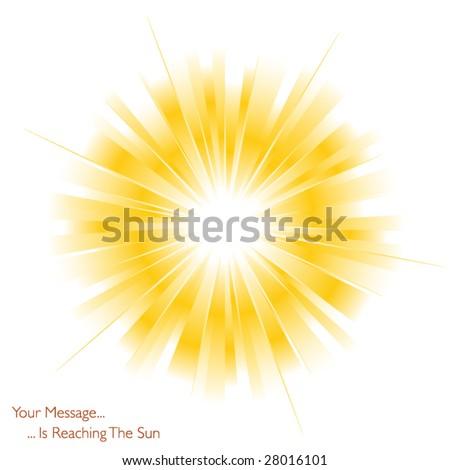Yellow sun on white - stock vector