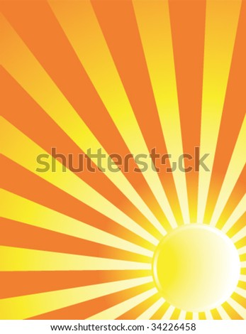 Yellow sun ray background - vector