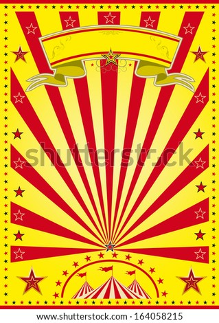 yellow sunbeam circus. A yellow circus poster with red sunbeams