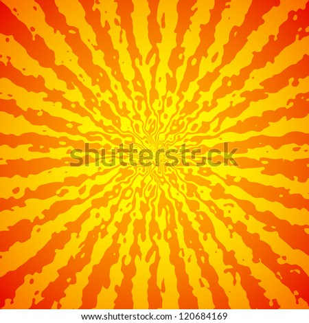 Yellow sunburst on orange vector image - stock vector