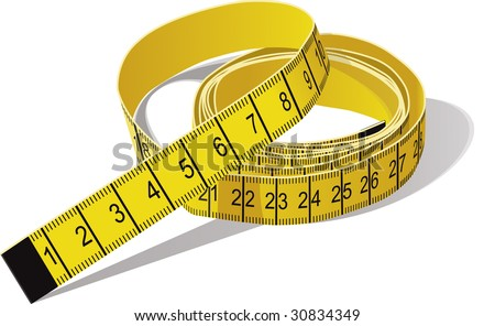 Yellow tape measure in centimeters. CMYK color. - stock vector