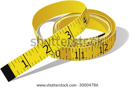 Yellow tape measure in inches. Vector file is in CMYK color. - stock vector