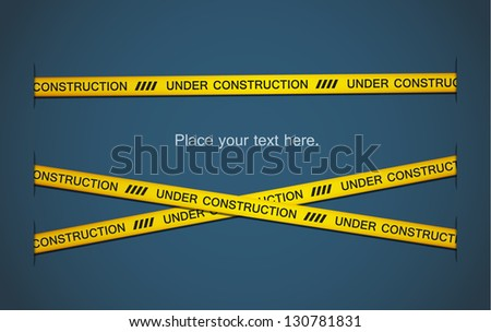 "Yellow tapes with ""under construction"" text on blue background. EPS10 vector. - stock vector"