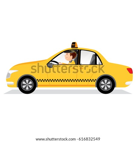 Yellow taxi car and taxi driver