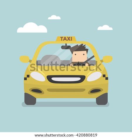 Yellow taxi car and taxi driver vector - stock vector