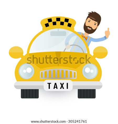 Yellow taxi car - vector icon. Taxi cab and taxi driver. Illustration of motor goes on road or street with taxi driver behind wheel with raised thumb. Inscription on car - taxi. Vector checkered taxi. - stock vector