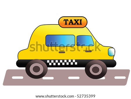 Yellow taxi - vector illustration.