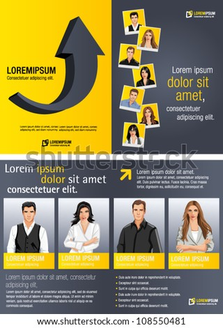 Yellow template for advertising brochure with business people - stock vector