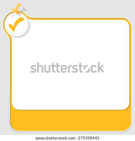 yellow text box with pushpin and check box - stock vector