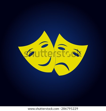 Yellow Theater icon with happy and sad masks on a blue background