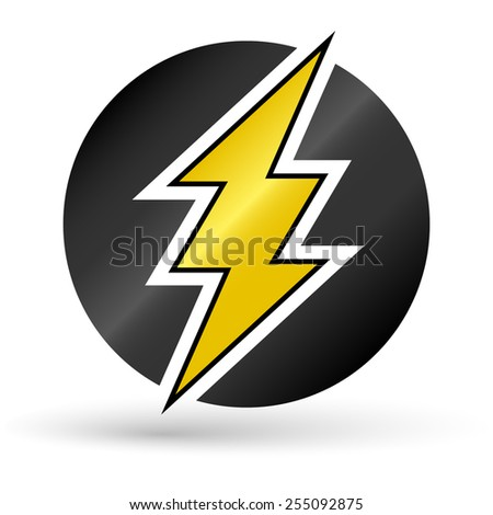 Yellow thunder in black circle - stock vector