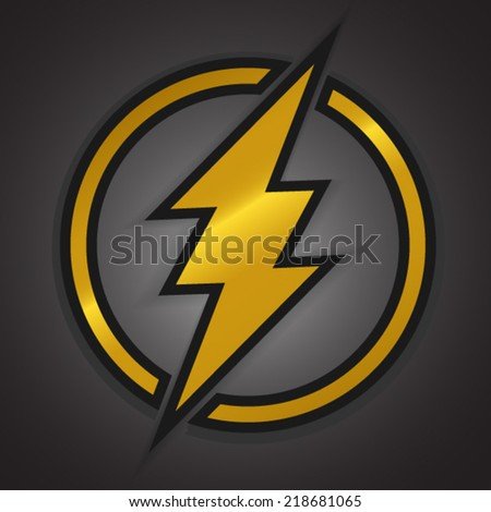 Yellow thunder on dark background - stock vector