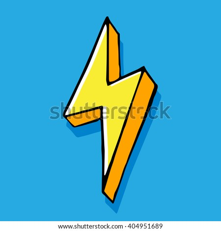 Yellow thunderbolt hand drawn, vector doodle illustration on blue background, isolated