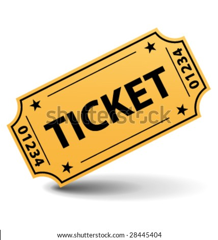 Yellow ticket vector illustration - stock vector