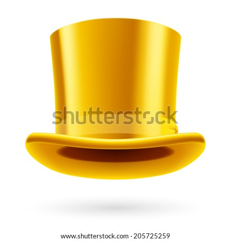 Yellow top hat on the white background. - stock vector