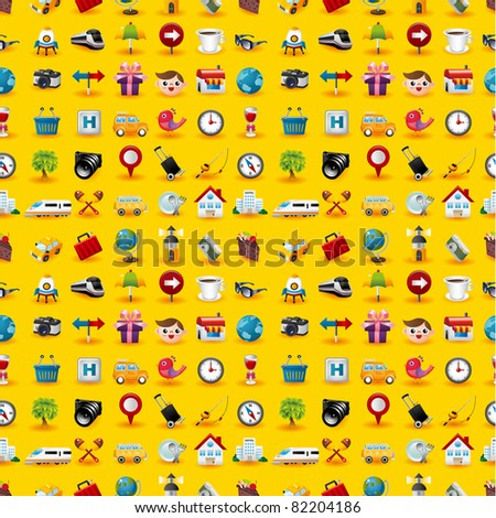 Yellow  Travel Icons Seamless Pattern - stock vector