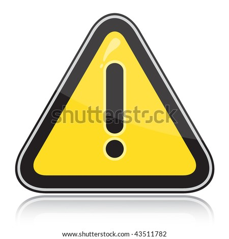 Yellow triangular other dangers warning sign on white background - stock vector