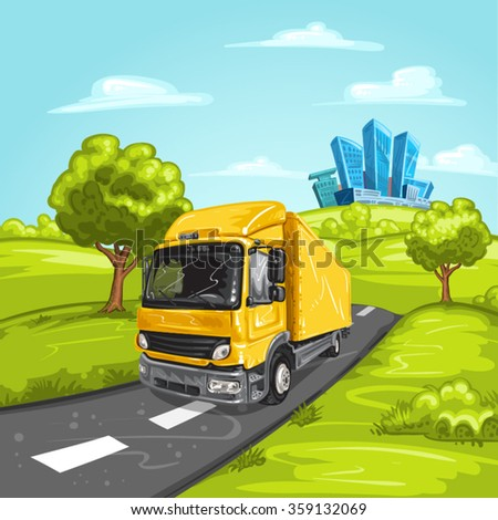 Yellow truck on asphalt road and modern city - stock vector