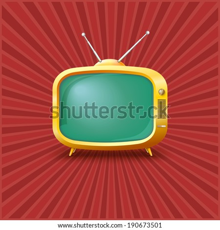 Yellow TV on a vintage background with rays. - stock vector