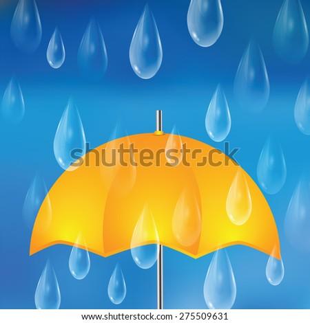 Yellow umbrella and raindrops.The autumn rainy background - stock vector