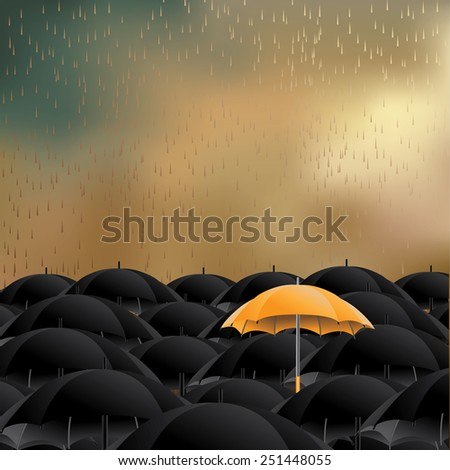 Yellow umbrella in sea of black background with space for copy. EPS 10 vector royalty free stock illustration for marketing, flyer, poster, blogs, illustrate individuality, loneliness, overpopulation - stock vector