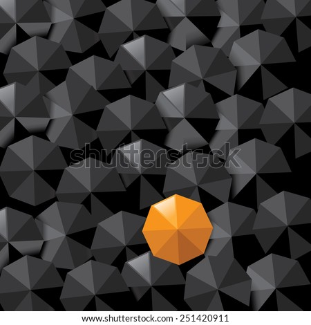 Yellow umbrella in sea of black with space for copy. EPS 10 vector royalty free stock illustration for ad, marketing, flyer, poster, blogs, to illustrate individuality, loneliness, overpopulation - stock vector