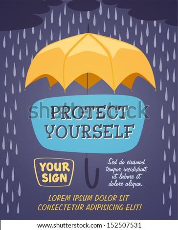 Yellow umbrella. Retro styled vector poster.  - stock vector