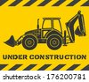 Yellow under construction pattern with gray excavator silhouette - stock vector