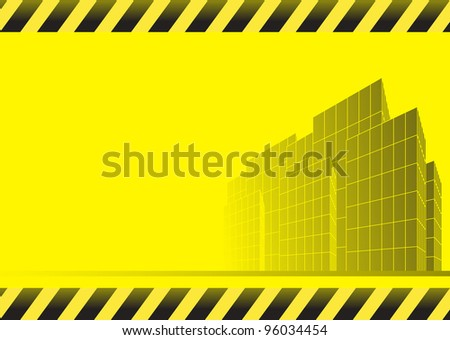 yellow urban construction background with skyscrapers, road and space for text