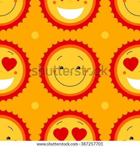 Yellow vector abstract seamless pattern background with sun and dots. Smiley face cute repeating seamless pattern background. Seamless summer background. Happy emotions icons decorative pattern design - stock vector