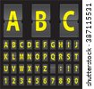 yellow vector alphabet of black mechanical panel - stock vector