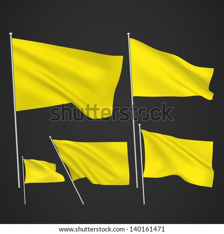 Yellow vector flags. A set of 5 wavy 3D flags created using gradient meshes. EPS 8 vector - stock vector