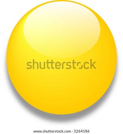 Yellow vector glass web button - stock vector